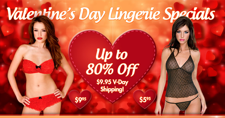 Sexy red Valentine's Day lingerie in two piece, thongs, dresses and sheer nighties to indulge all of your naughty fantasies! Free Shipping.