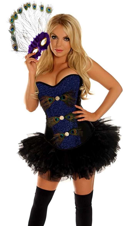 peacock masquerade corset costume sexy peacock halloween costume - Corsets Halloween Costumes
