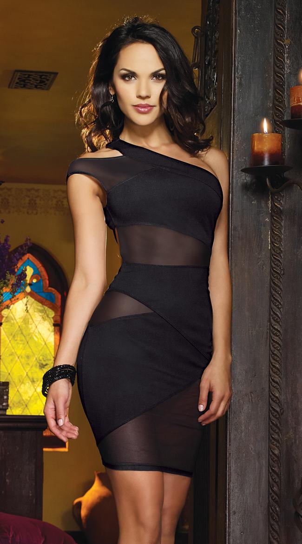 Turmec One Shoulder Long Sleeve Tight Black Dress