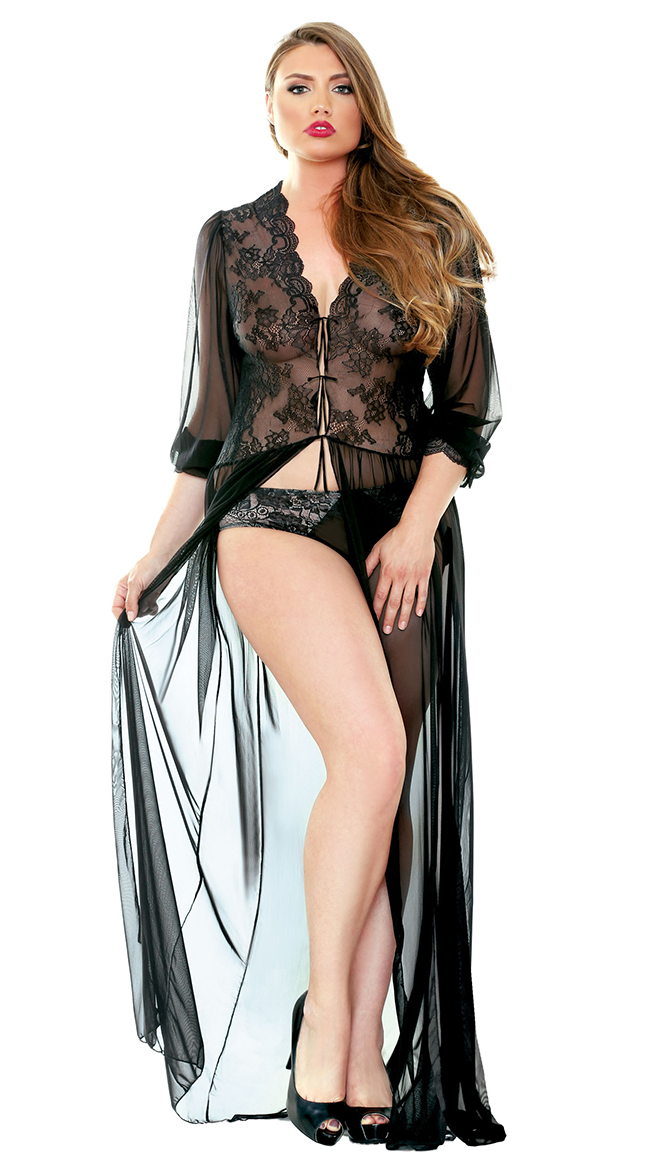 Plus Size Sheer Lace Dressing Gown, Plus Size Mesh and Lace ...