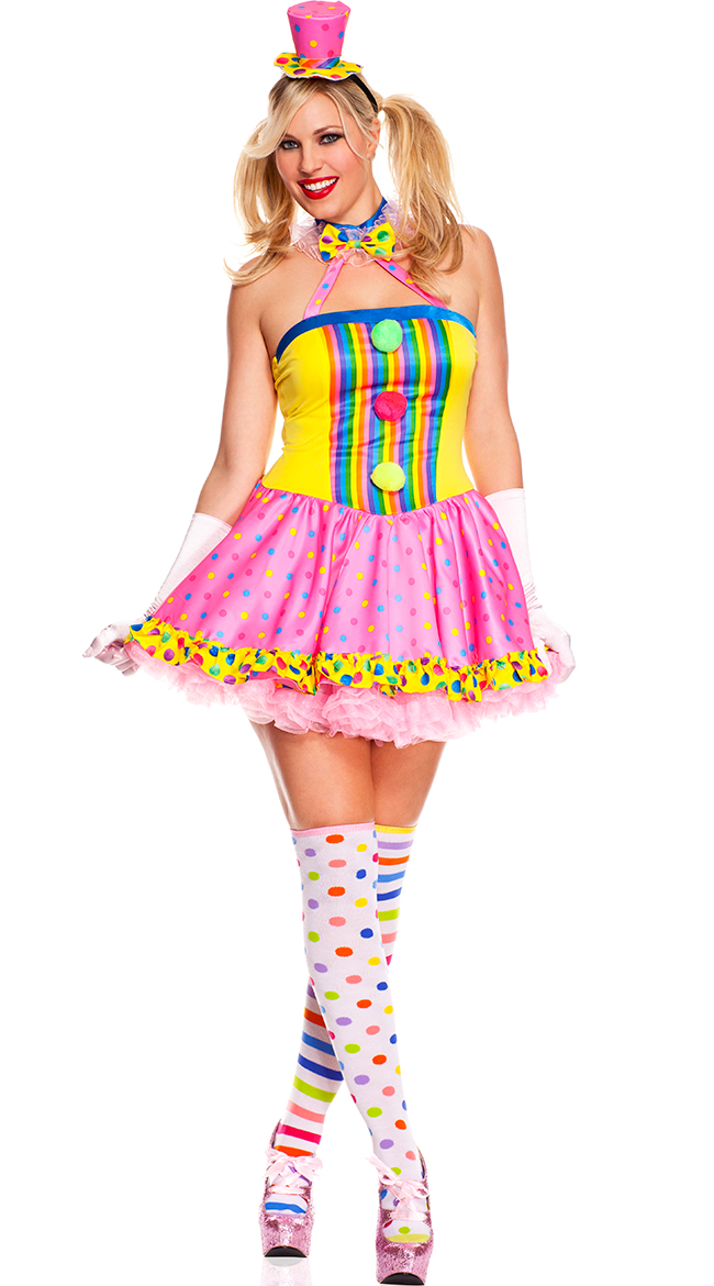 Plus Size Circus Cutie Clown Costume, Plus Size Clown Halloween ...