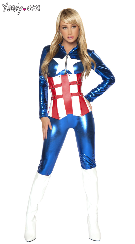 Капитан Америка Женский Костюм