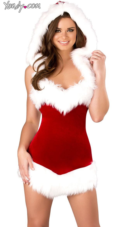 Christmas Beauty Hooded Dress, Sexy Christmas Dress, Fur Christmas ...