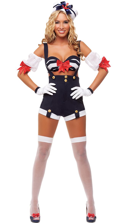 wave riding sailor costume retro pinup sailor costume sexy sailor halloween costume - Sailors Halloween Costumes