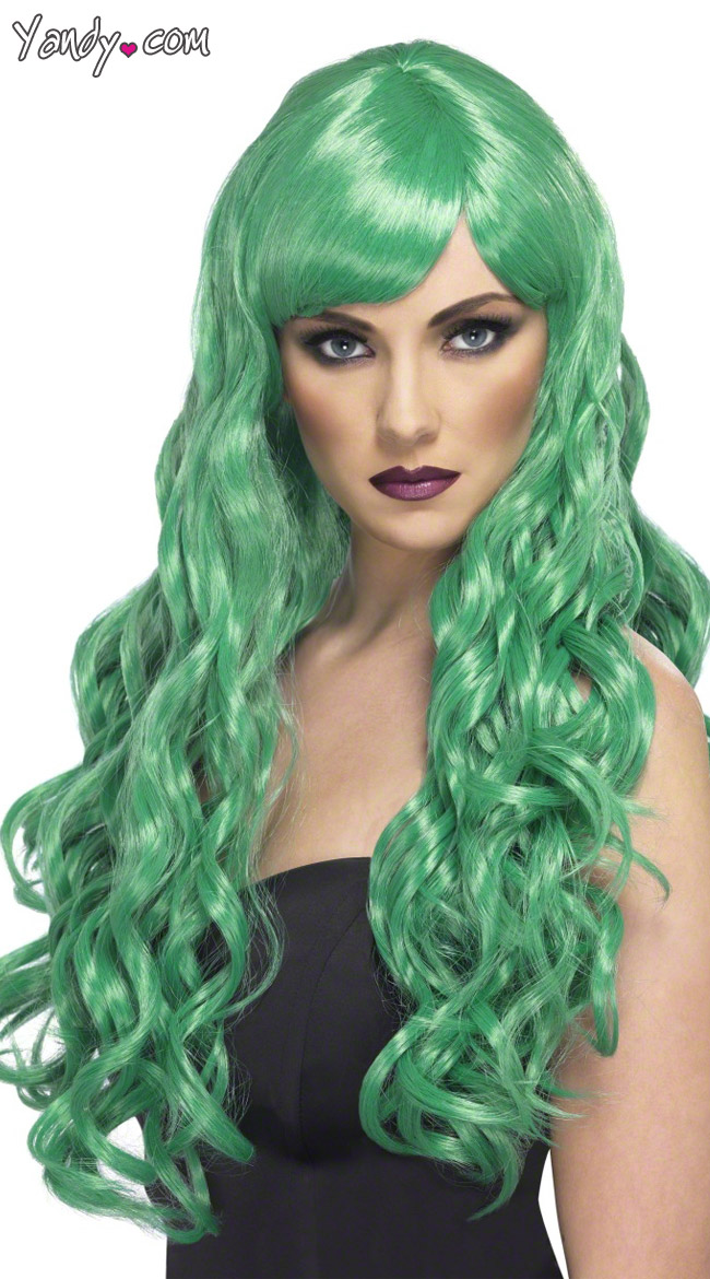 long green curled wig green curly wig green wig - Colored Wig