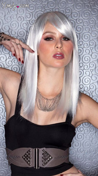 Chrome Straight Wig, Blush Fortune Chrome Wig, Silver Wig