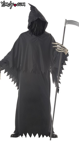 Grim Reaper Deluxe Costume, Scary All Black Grimm Reaper Costume, Scary Black Unknown Phantom Costume