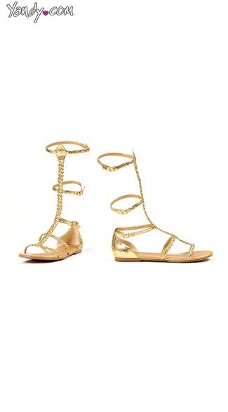 Gold High-Rise Gladiator Sandal, Gold Shoes, Cheap Gladiator Sandals
