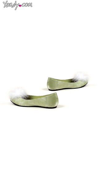 Satin Ballet Flat with Faux Fur Puffs