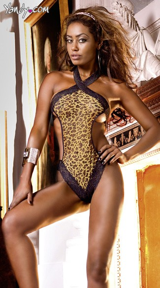 Leopard Print Mesh Teddy with Lace