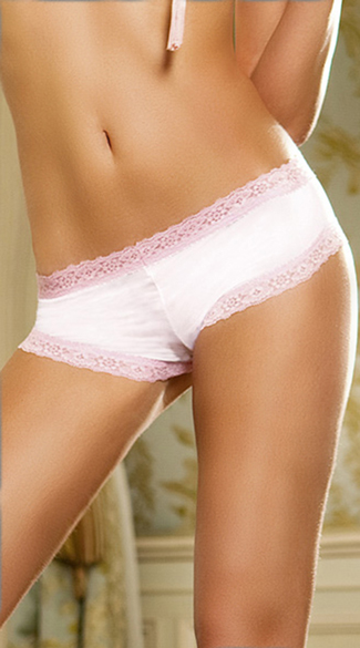 Microfiber Boyshort with Lace Trim, Lace Trim Boyshorts, Lace Trim Booty Shorts