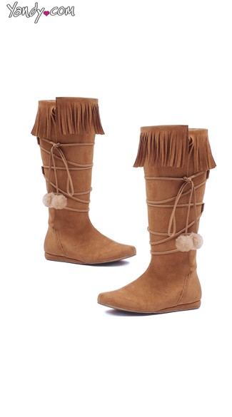 Fringed Moccasin Boots with Pom Pom Tassels, Girls Moccasin Boots, Lace Up Knee High Boots