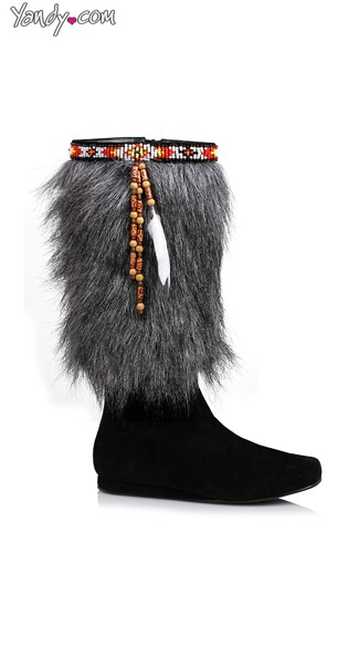 "Faux Fur Boots, Esimo Costume Boots, 1"" Heel Boot"