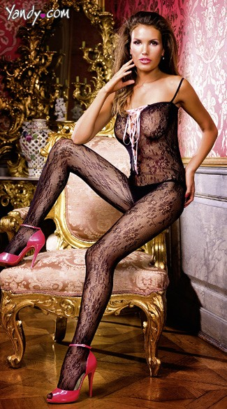 Trim Flower Lace Up Bodystocking, Floral Lace Bodystocking, Lace Up Body Stocking Lingerie
