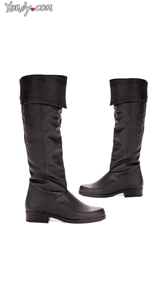 Men\'s Knee-High Leather Boots with Fold Over Cuff, Mens Leather Shoes, Mens Riding Boots