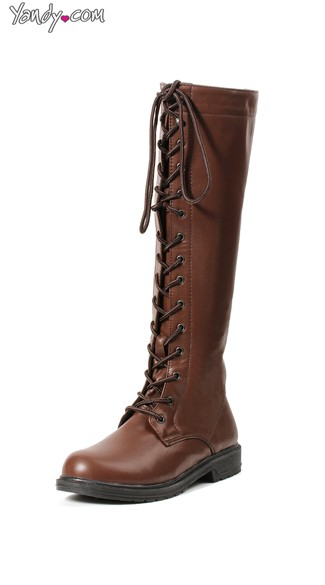 Knee-High Lace Up Riding Boot, Brown Leather Riding Boots, Lace Up Boots for Women