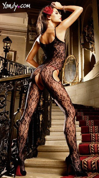 Black Floral Lace Peek-A-Boo Bodystocking