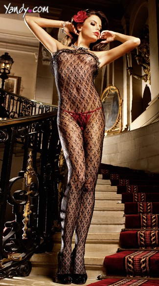 Lace Bodystocking with Ruffle
