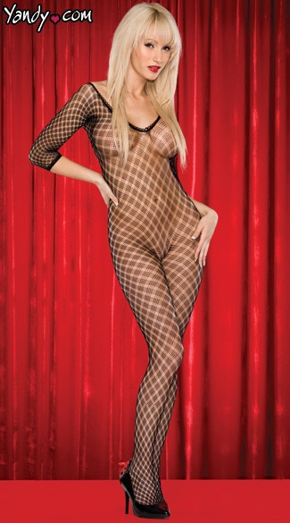 Fence Pattern Sheer Bodystocking