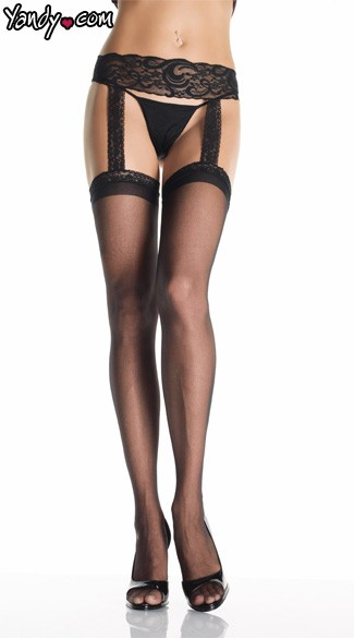 Sheer Lace Top Stockings With Attached Lace Garter Belt