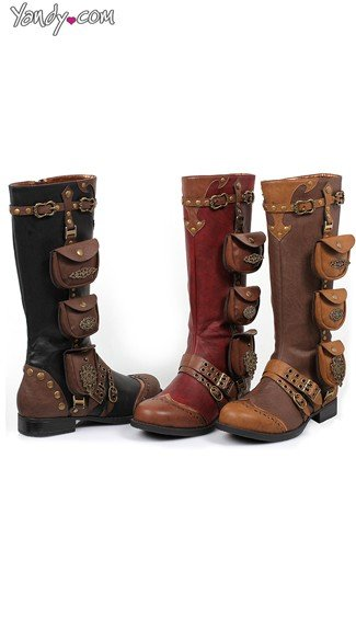 Steampunk Belted and Studded Knee High Boot, Flat Boots, Ladies Cowboy Boots