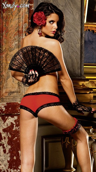 Red Mesh Hipster With Black Lace Trim