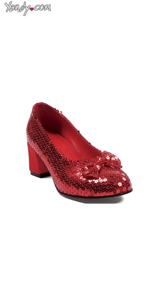 Red Sequin Kitten Heel with Bow, Red Shoes For Women, Red Sparkly Shoes