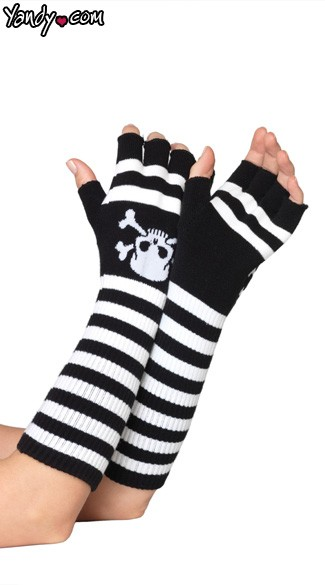 Acrylic Elbow Length Fingerless Gloves, Acrylic Gloves, Elbow Length Gloves, Striped Gloves, Halloween Gloves