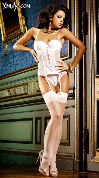 White Sheer Thigh High Stockings With Backseam