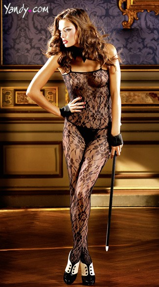 Flower Lace Bodystocking, Black Floral Lace Bodystocking, Black Body Stocking
