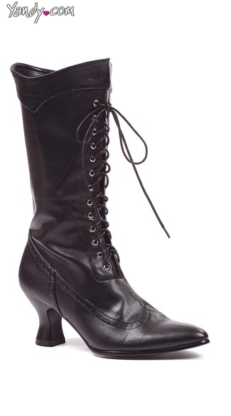 Sassy Victorian Boot with Lace Up Ties, Victorian Style Boots, Sexy Costume Boots