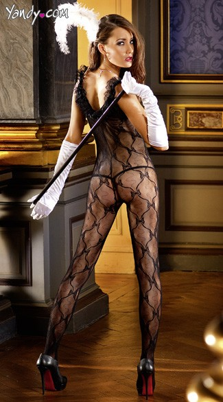 Black Bow Lace Bodystocking with Ruffle
