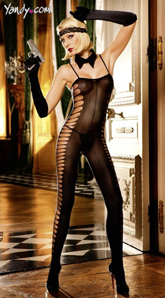 Sheer Black Jacquard Bodystocking
