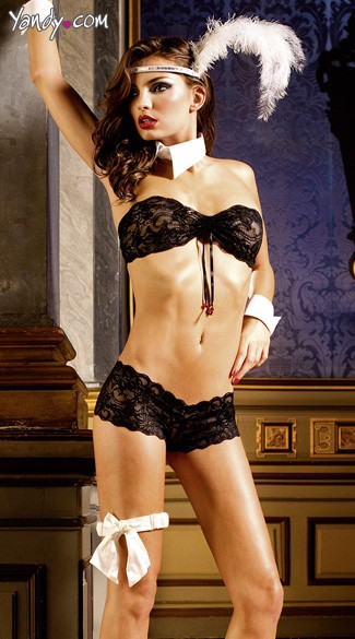 Black Lace Boyshort Set