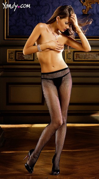 Diamond Mesh Pantyhose With Rhinestone Backseam