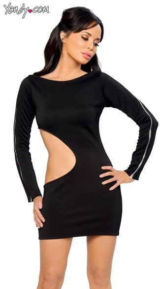Long Sleeve Cutout Dress with Zipper Detail, Long Sleeve Mini Dress, Sexy Mini Dress
