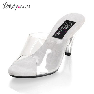 Princess Slide with Clear Kitten Heel, Clear Strap Sandal with 3 Inch Stiletto Heel, Sexy 3 Inch Platform Sandal