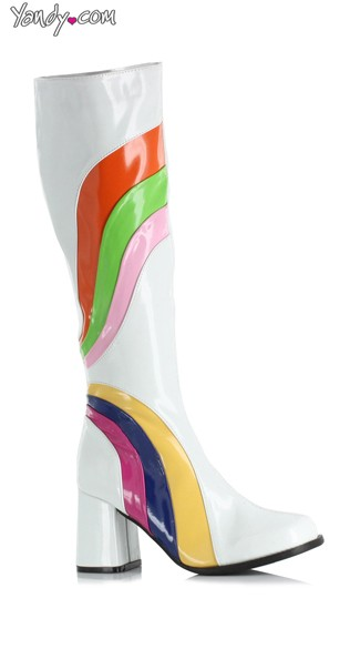 Retro Rainbow Boot, 60s Outfits, Disco Costumes Women