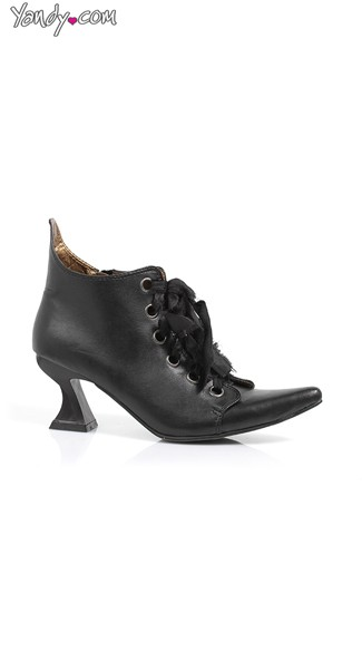 Pointy Victorian Bootie with Architectural Heel, Black Leather Boots, Cheap Boots