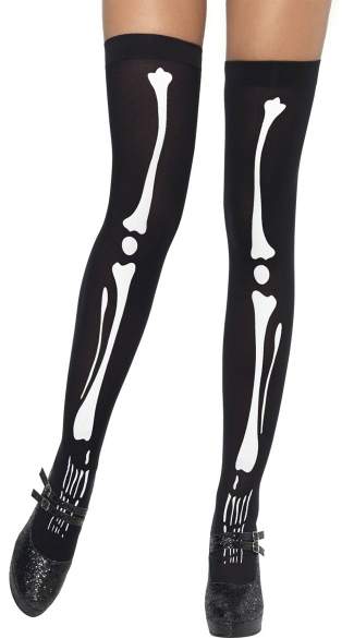 Black Skeleton Print Stockings, Bone Print Stockings, Black Skull Thigh Highs
