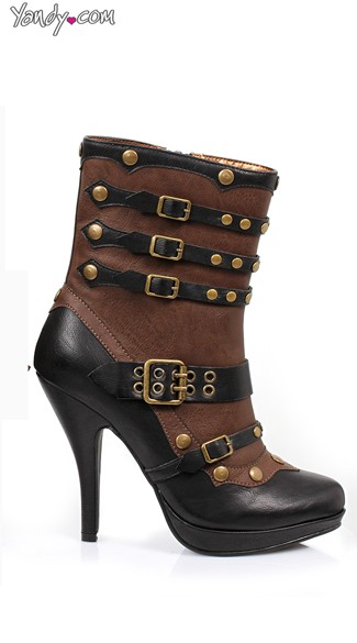 4 Inch Steam Punk Bootie, Brown Buckle Bootie