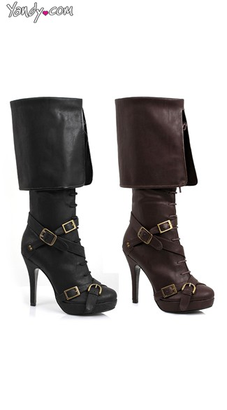 "4"" Knee High Buckle Boot, Boots with Buckles, Boots with Cuffs"