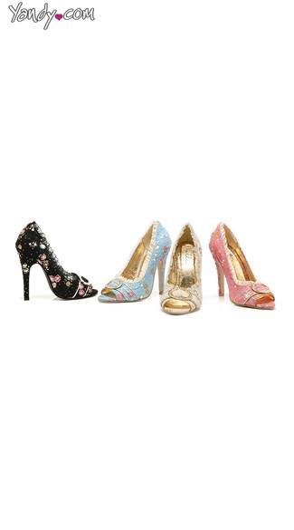 A Romantic Affair Floral Open Toe Pump, Floral High Heel Shoes, Pink Peep Toe Pumps
