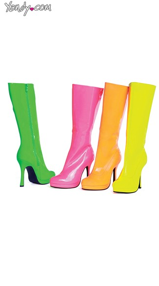Wet Look Neon Candy Boots, Fashion Knee High Boots, Cheap Costume Boots