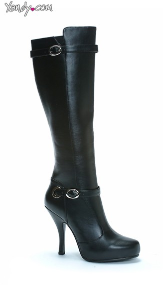 Sexy Siren Black Faux Leather Boots, Knee High Boots, High Boots