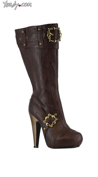 Steampunk Faux Leather Boots with Gold, Steampunk Shoes Women, Brown Boots for Women