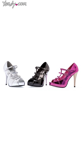 Strappy Metallic Peep Toe Pump, High Heels for Women, Stiletto Heels