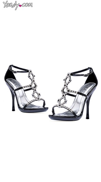 Strappy Rhinestone High Heels, Strappy Black Sandals, High Heels for Prom