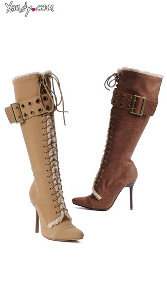 Stiletto Faux Leather Lace Up Boot with Faux Fur Trim