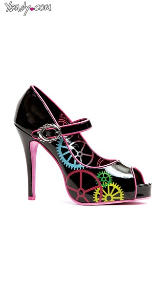 Mechanical Gear Printed Mary Jane Pump, Cheap Shoes, Mary Jane Heels
